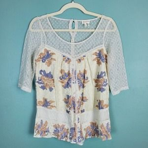 Anthropologie Meadow Rue Floral Lace Top Size XS
